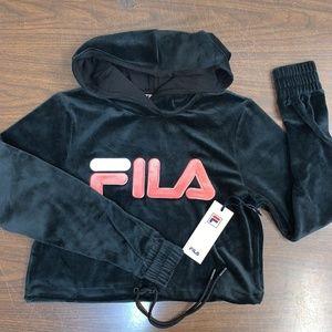 Fila Aitana Womens Crop Velour Hoodie Black Pink